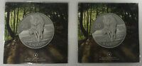 LOT OF 2 2013 CANADIAN 20 FOR 20 WOLF SILVER ARGENT PUR 99.9