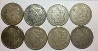 1921 S SAN FRANCISCO  LOT OF 8 MIXED SILVER DOLLARS SOME NICER  GRADE COINS