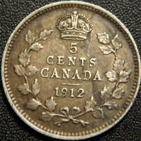 1912 CANADIAN SILVER FIVE CENT KM22  FULL EAR BANDS AND GEM