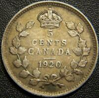 1920 CANADIAN SILVER FIVE CENT   FULL EAR AND COMPLETE BANDS