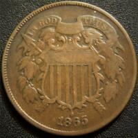 1865 TWO CENT PIECE   PARTIAL MOTTO SHOWS