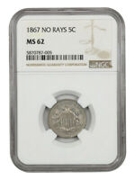 1867 5C NGC MINT STATE 62 NO RAYS SHIELD NICKEL