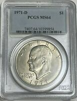 1971 D $1 PCGS MINT STATE 64 CLAD EISENHOWER DOLLAR IKE UNCIRCULATED