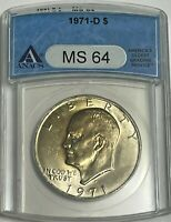 1971 D $1 ANACS MINT STATE 64 CLAD EISENHOWER DOLLAR IKE UNCIRCULATED