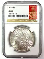 1885 MORGAN SILVER DOLLAR - NGC MINT STATE 63 - THE OFFICIAL RED BOOK LABEL