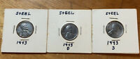 1943 P D S LINCOLN STEEL WHEAT CENT CENT -- 3 COINS   LOT 3