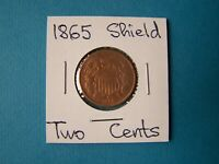 US COINS 1865 YEAR TWO CENTS NICE COPPER NICKEL COIN.