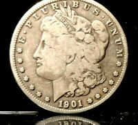 1901-S SILVER MORGAN DOLLAR 1901-S VAM-12 DOUBLED RIGHT 1  NEAT COIN TO OWN