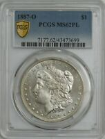 1887-O MORGAN SILVER DOLLAR $ MINT STATE 62 PL SECURE PCGS 944385-6