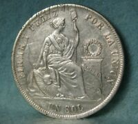 1874 YJ PERU 1 SOL WORLD FOREIGN SILVER COIN / CROWN KM 196.