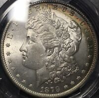 1879-O PCGS MINT STATE 63 MORGAN SILVER DOLLAR WITH BEAUTIFUL RAINBOW CRESCENT TONING