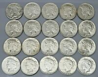 1 ROLL OF  20  1923 PEACE LIBERTY SILVER DOLLARS $1 OLD US 9