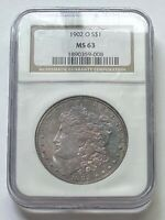 1902 O $1 MORGAN SILVER DOLLAR NGC MINT STATE 63 TONED / COLOR
