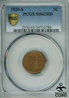 1920 S UNITED STATES 1C LINCOLN WHEAT PENNY KM132 PCGS MS 63