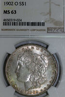 1902-O MORGAN 90 SILVER DOLLAR TONED NGC GRADED MINT STATE 63 4650319-024