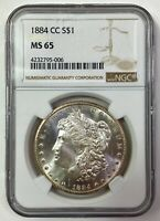 1884-CC MORGAN SILVER DOLLAR - PCGS MINT STATE 65 - WOW LUSTER - CARSON CITY