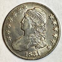 1831  MS     CAPPED BUST HALF DOLLAR 90  SILVER   WOW LUSTER
