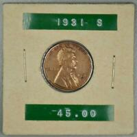 1931 S LINCOLN WHEAT CENT EXTRA FINE DETAILS IMPROPERLY CLEA
