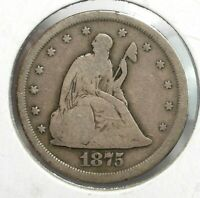 1875 S USA 20 CENT TYPE COIN FINE CONDITION  089