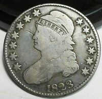 1823 USA CAPPED BUST SILVER HALF DOLLAR VF DETAILS SMALL SCR