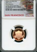 2021 S LINCOLN CENT FR FROM   7  COIN SILVER SET. NGC PF70 R