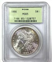 1886 MORGAN SILVER DOLLAR - PCGS MINT STATE 65 - VINTAGE GREEN HOLDER - WOW LUSTER