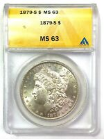 1879-S MORGAN SILVER DOLLAR - ANACS MINT STATE 63 -  LUSTER