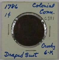 C381 UNITED STATES COLONIAL CONNECTICUT AE ONE CENT 1786 CRO