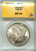 1903-O SILVER $1 MORGAN DOLLAR MINT STATE 64 ANACS VAM 4A R-6 GREAT INVESTMENT   GEM