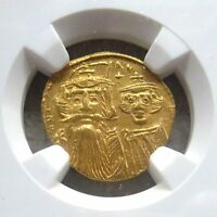 641 668 AD GOLD BYZANTINE SOLIDUS CONSTANS II & CONTANTIUS IV NGC CH AU