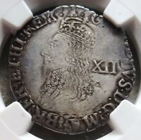 1634 1639 SILVER GREAT BRITAIN SHILLING KING CHARLES I COIN NGC FINE DETAIL
