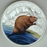CANADA 2015 $20 BEAVER AT WORK 1 OZ. 99.99  PURE SILVER COLOR PROOF COIN