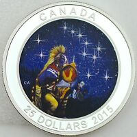 CANADA 2015 $25 THE QUEST ONE OZ. PURE SILVER GLOW IN THE DARK COLOR PROOF COIN