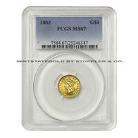 1883 $1 INDIAN PRINCESS PCGS MS67 GEM GRADED TYPE 3 GOLD DOLLAR LARGE HEAD COIN