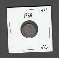 1888 CANADA 5 CENTS SILVER FISH SCALE VG