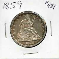 1859 50C LIBERTY SEATED HALF DOLLAR. ALMOST UNCIRCULATED. LOT84
