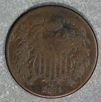 BETTER DATE 1871 TWO CENT PIECE - PROBLEM-FREE  GOOD