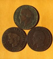 OLD FRANCE EMPIRE 5 CENTIMES COINS,1855 1865 1872.3 PCS