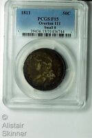 1811 SMALL 8 CAPPED BUST HALF DOLLAR PCGS F15 OVERTON 111