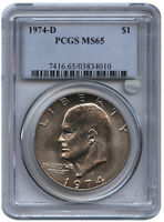 1974 D $1 EISENHOWER DOLLAR MS 65 PCGS