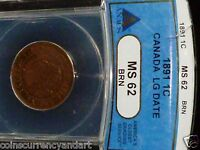 1891 CANADA ONE CENT  LARGE DATE  MS 62    ANACS GRADED   COIN