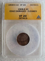 1908 S BRONZE INDIAN HEAD CENT ANACS VF20 DETAILS