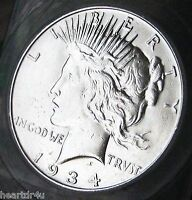 1934 D PEACE DOLLAR  ALMOST UNCIRCULATED   BETTER DATE PEACE DOLLAR