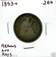 1853 O 25C ARROWS AND RAYS LIBERTY SEATED QUARTER DOLLAR