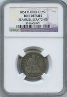 1854 O HUGE O SEATED QUARTER FINE DETAILS NGC LOOK