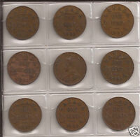 1932 CANADA ONE CENT 9 COINS LOT