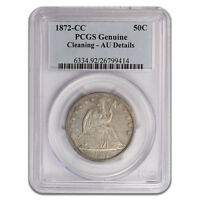 1872 CC 50C LIBERTY SEATED HALF DOLLAR PCGS AU DETAILS CLEANED