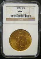 1926 $20 SAINT GAUDENS DOUBLE EAGLE GOLD COIN NGC MS 62