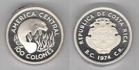 COSTA RICA   SILVER PROOF 100 COLONES COIN 1974 YEAR KM201A WILDLIFE MANATEE