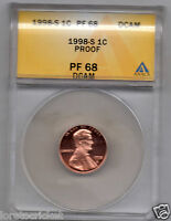 US CENT 1998 S PROOF 68 ANACS SLABBED AND NEAR PERFECT
